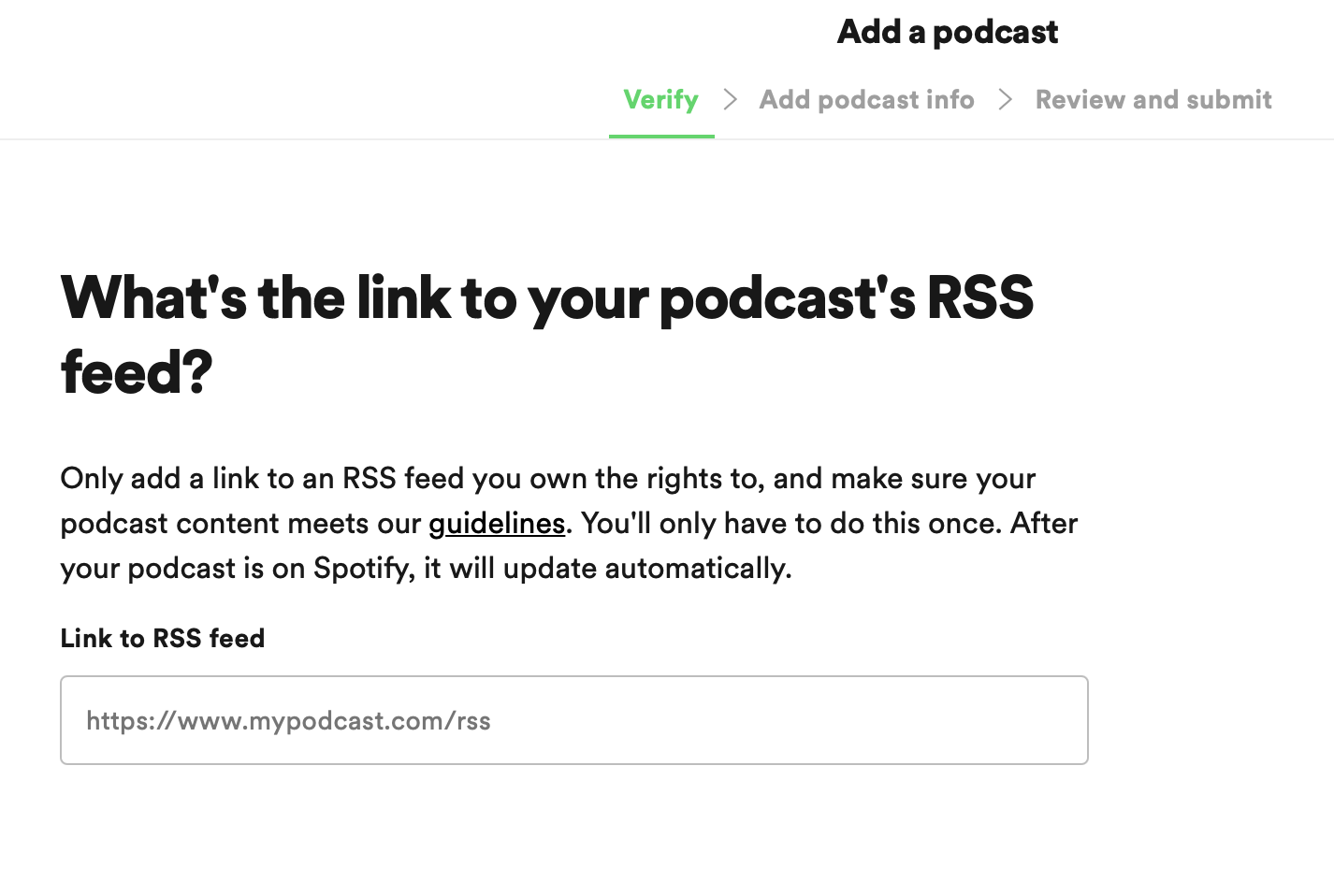 Feed RSS no Spotify for Podcasters